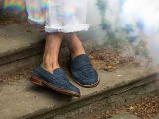 dune suede navy woven loafers